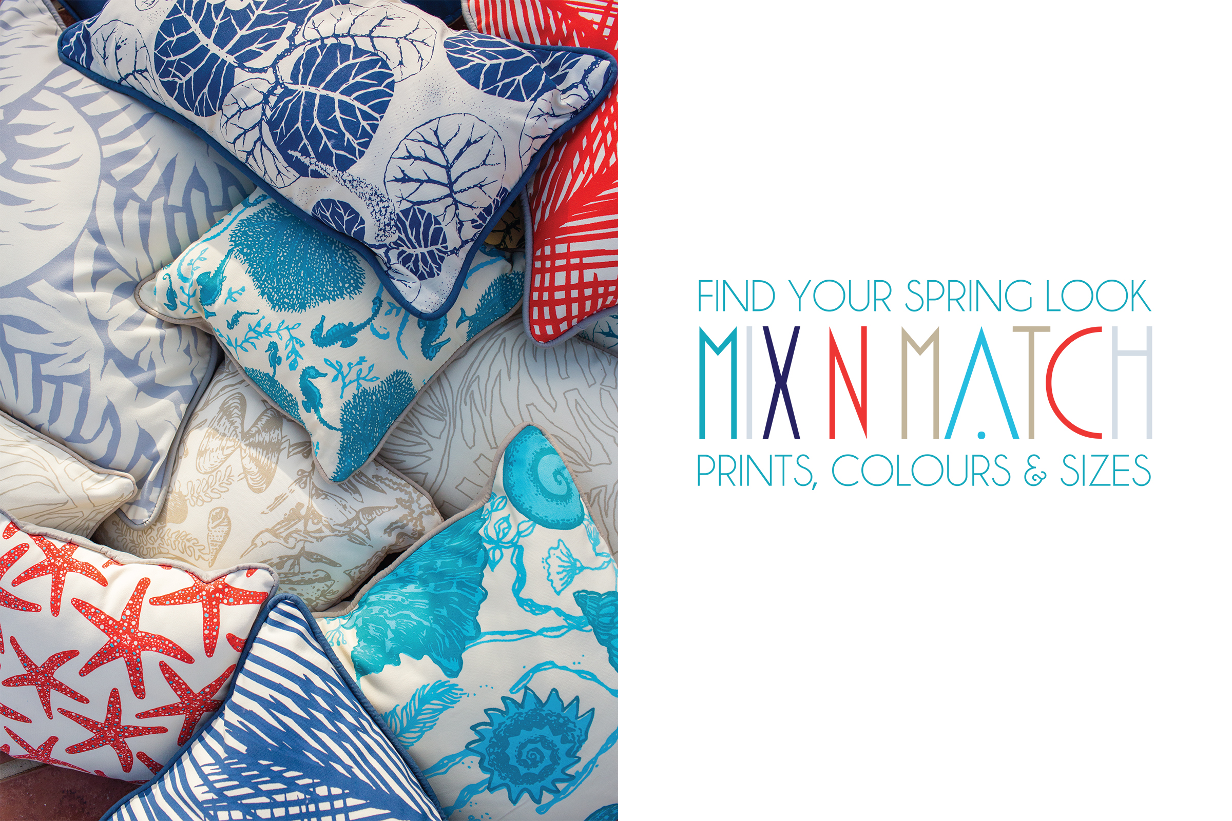 hand printed outdoor fabrics in assorted island prints and colours, on sale for the month of march