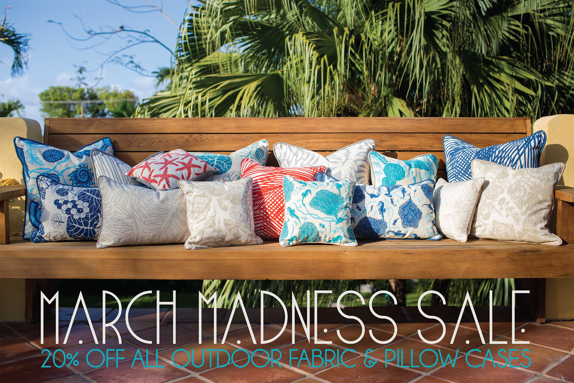 hand printed outdoor pillows in assorted island prints and colours